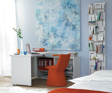 arbeitszimmer: schreibtisch im schlafzimmer | ikea regal, Schlafzimmer