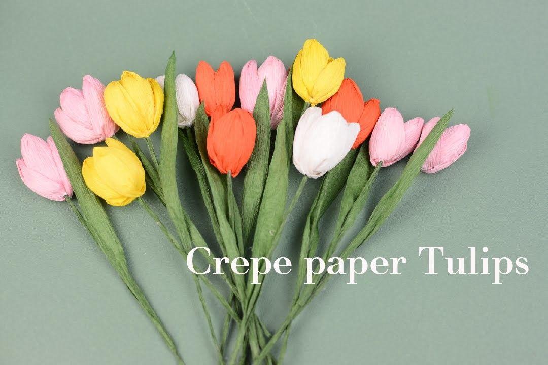 Crepe Paper Flower Tulips Easy Tutorial Creative Diy Paper Flower Video Paper Flowers Paper Flowers Diy