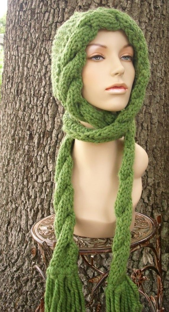 fee6c5ad73c Knit Hat Womens Hat Green Hat Green Scarf Green by pixiebell ...