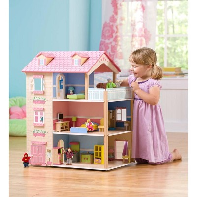 Imagine My Place Dollhouse Go Round 3 Story Dollhouse With Turntable Hearthsong Dollhouse Place Imagine Wooden Dollhouse Doll House Doll Home