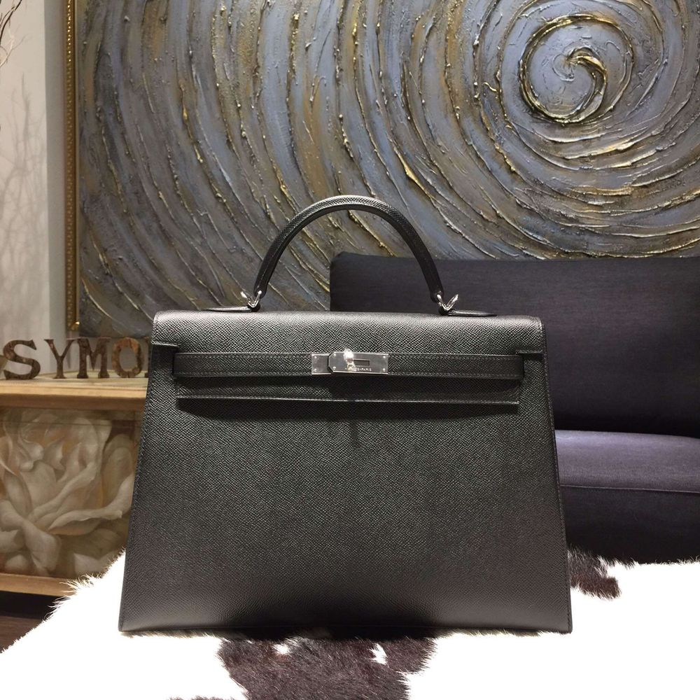 b88fbcf165c Hermes Kelly 35cm Epsom Calfskin Original Leather Bag Hand Stitched  Palladium Hardware