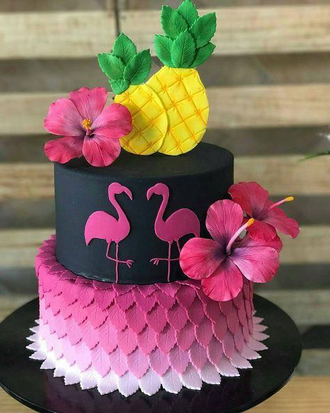 Luau Flamingos Cake Bolinhos Tropicais Bolo De Flamingo Festa