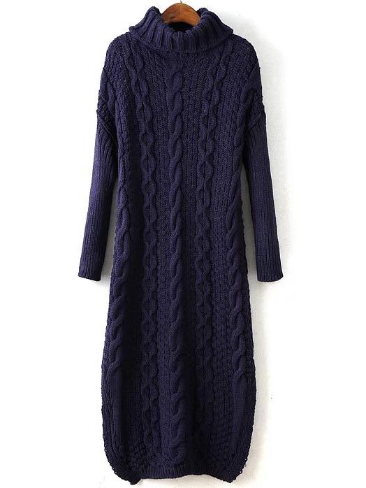65153604acd490 Navy Cable Knit Turtleneck Slit Maxi Sweater Dress -SheIn(Sheinside ...