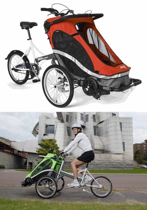 OMG I want this! No stupid trailer to pull, but can fit both boys! ..... Front Child Carrier Bicycle - Zigo Leader X2 Carrier Bicycle