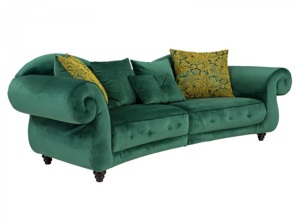 Sofa Megasofa 3-Sitzer Stoff grün Antik Design Polstermöbel massivum - Wohnzimmer Design Grun