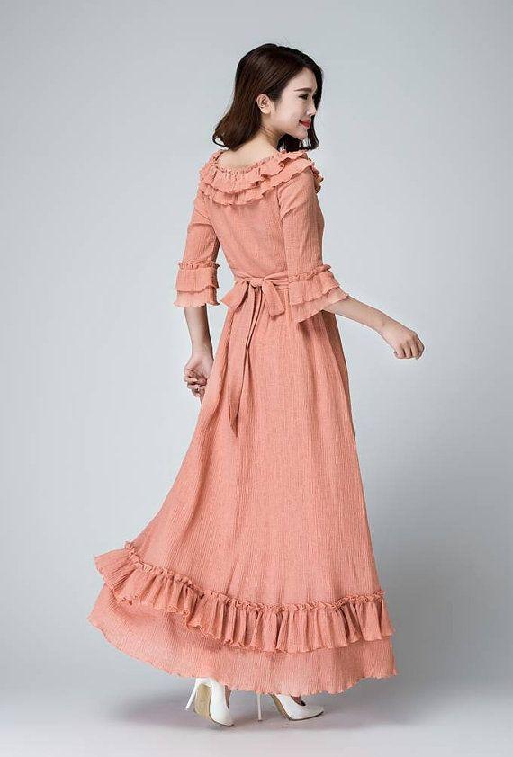 9bd7c106544 Pink Linen maxi dress Feminine long dress with ruffle deatil ...