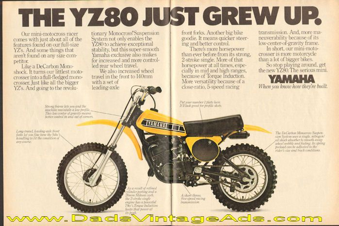 1978 Yamaha Yz80 Mini Motocross Racer Just Grew Up 2 Page Ad Motocross Racer Motocross Motocross Bikes