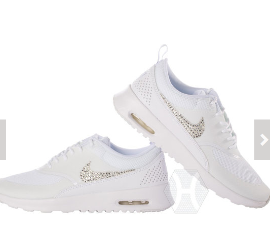 sports shoes 5d6fa e7323 Swarovski Crystals Nike Air Max Thea Womens All White