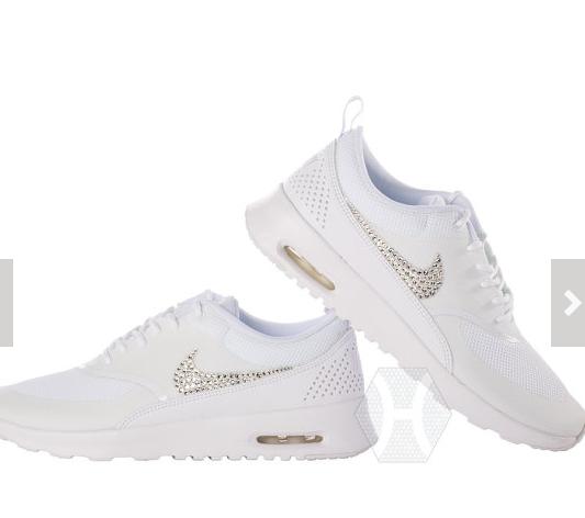 sports shoes 82180 9312a Swarovski Crystals Nike Air Max Thea Womens All White