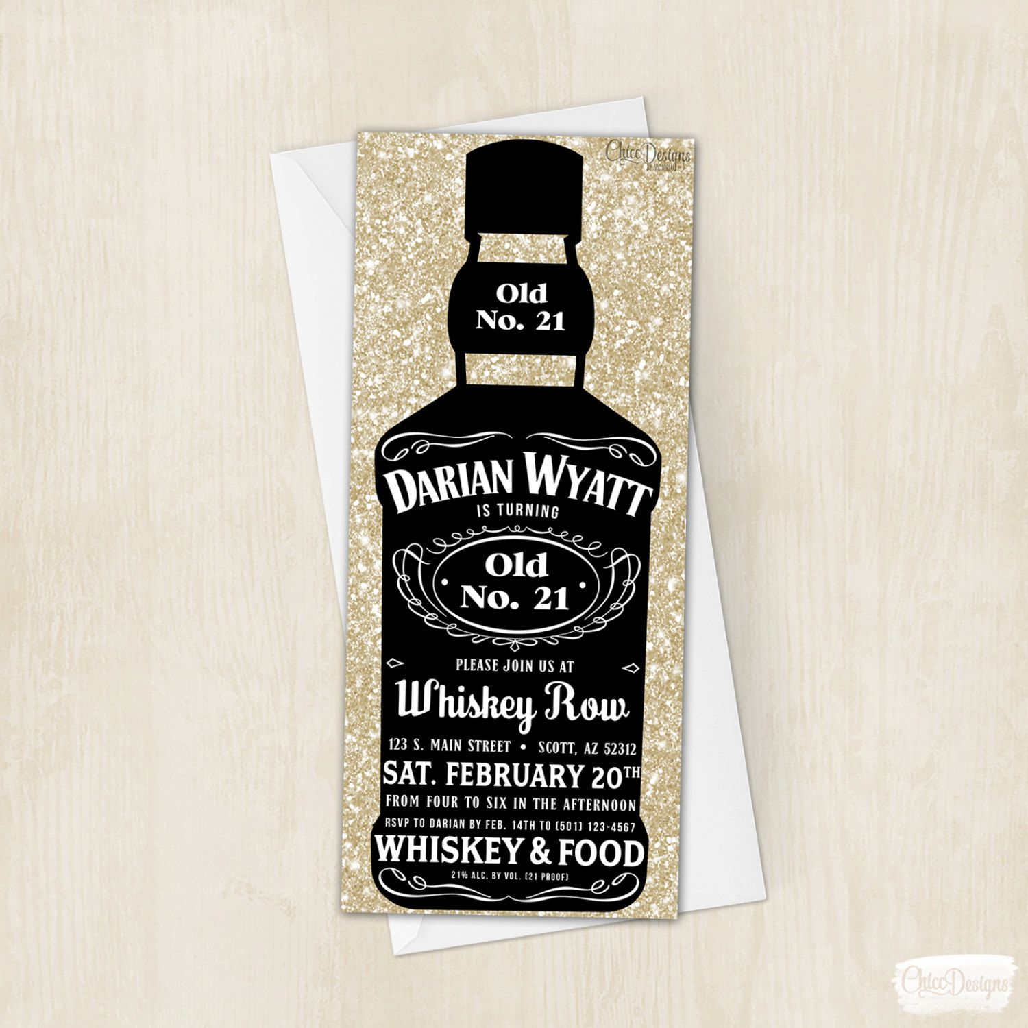 Whiskey Bottle Invitation - Alcohol Bottle - Invite - Twenty First ...