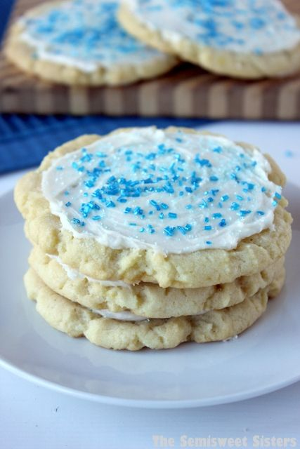The Best Bakery Style Chewy Frosted Sugar Cookies. Made with cream cheese!