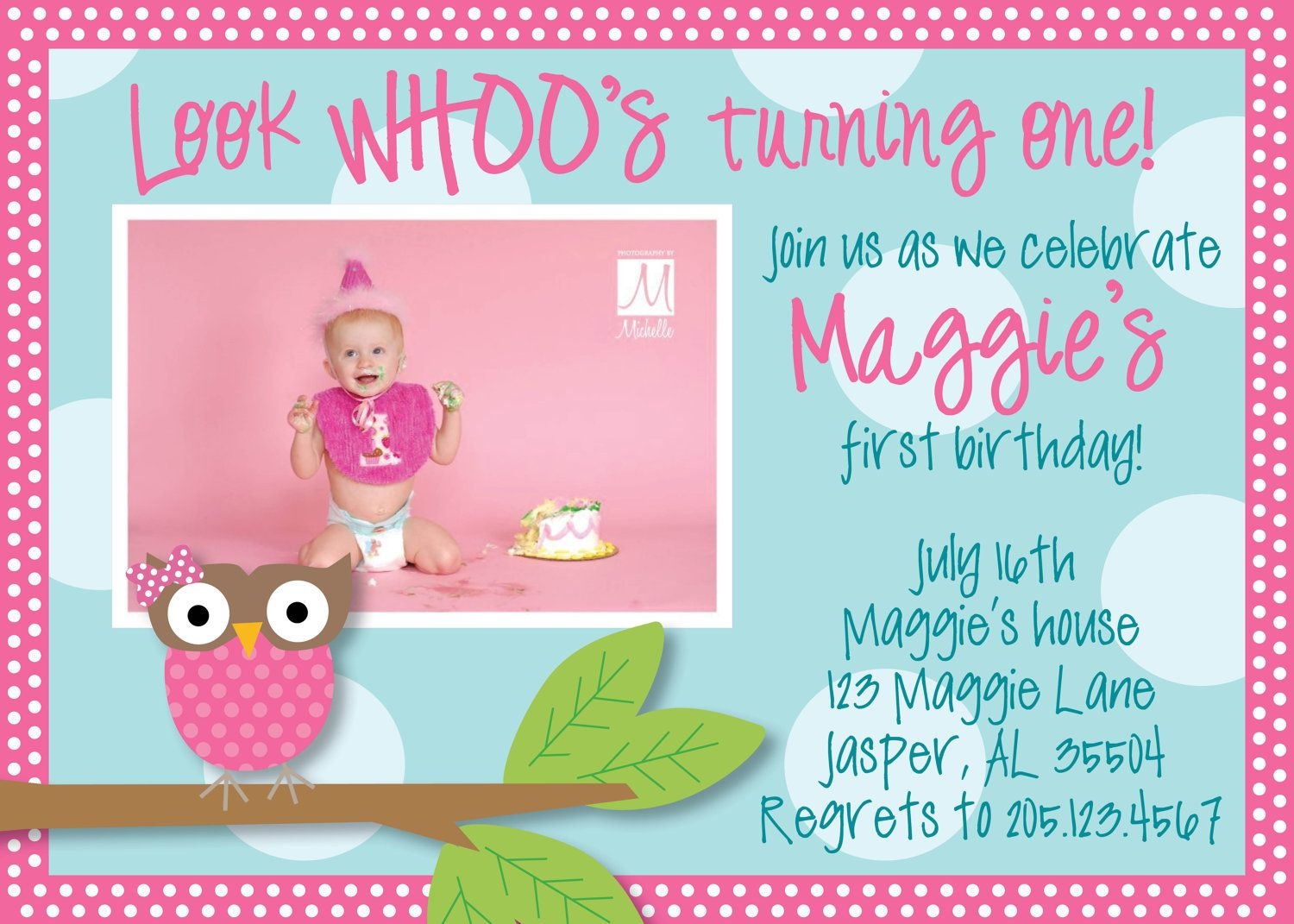 Owl 1st Birthday Invitations Ideas For Donny