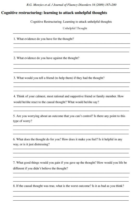 Cognitive restructuring Learning to attack unhelpful thoughts – Irrational Thoughts Worksheet