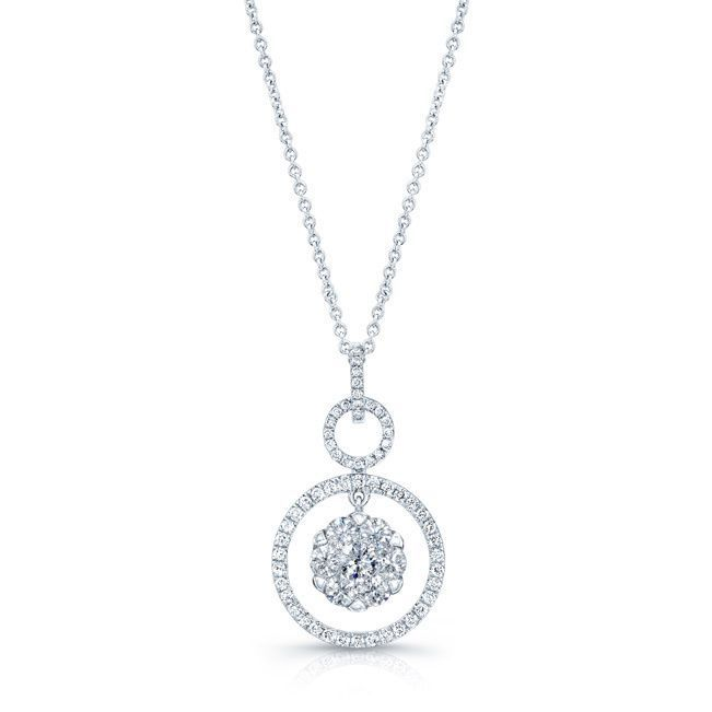 b829ee5ba59b8 Diamond Hanging Circles Pendant In 14k White Gold, Women's, Size: 18 ...