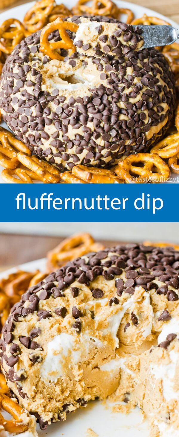 fluffernutter dip / dessert dip recipe / peanut butter / marshmallow fluff / party food / chocolate chips / pretzels / easy dessert via @tastesoflizzyt #marshmallowfluffrecipes
