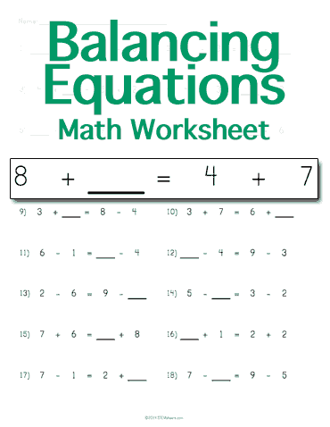 math worksheet : customizable and printable balancing math equations worksheet  : Math Equations Worksheet