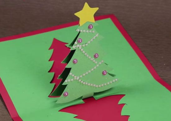 Diy Pop Up Christmas Card With Tree With Images Diy Christmas Cards Pop Up Christmas Cards Kids Diy Christmas Cards