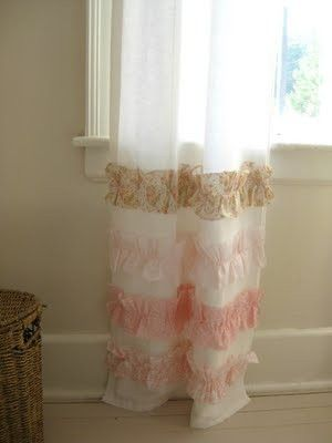 DIY Curtain Panels with bottom ruffle. Cute and easy.  e950f9054f4