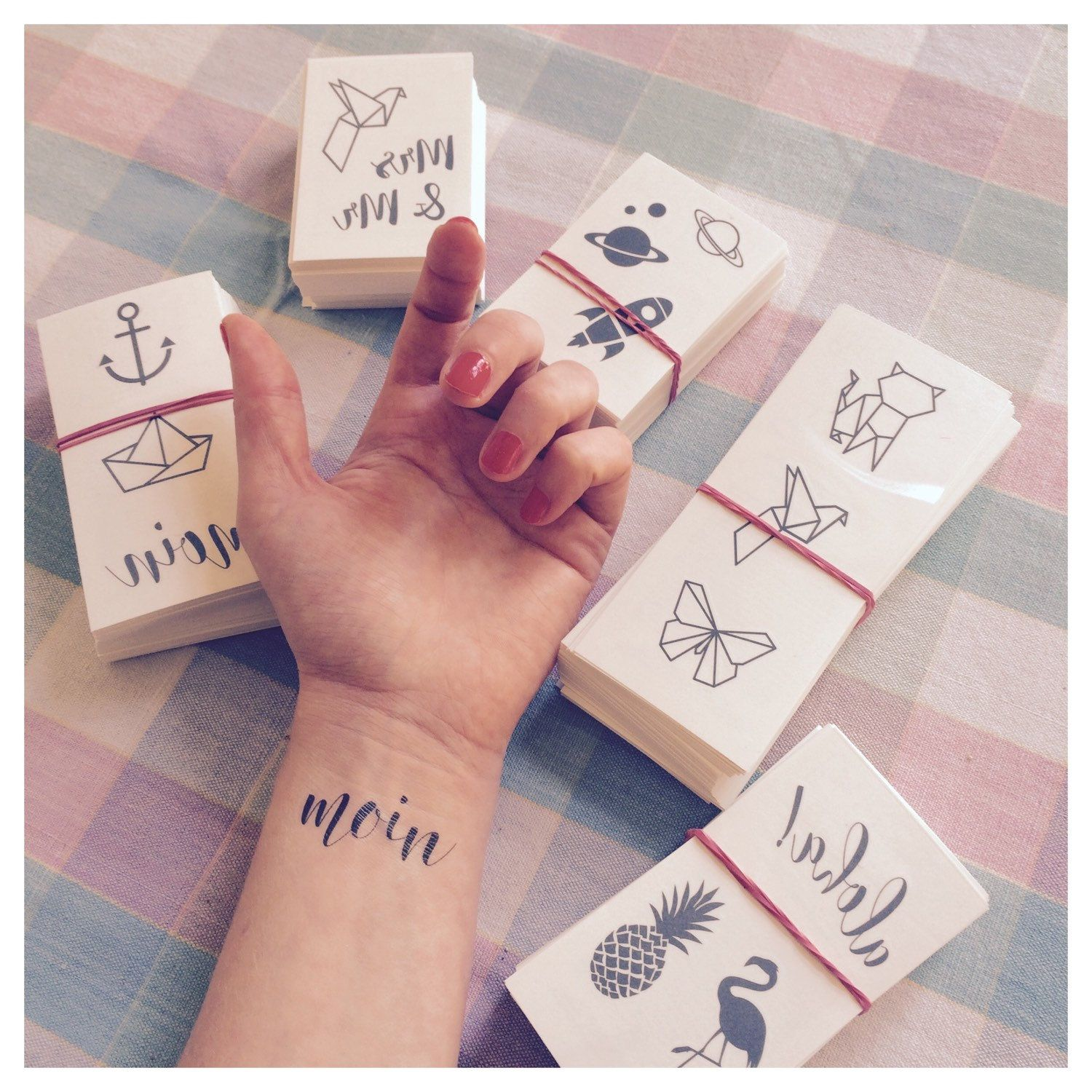 Our New Temporary Tattoo Designs Arrived Yeah Planets Rockets Anchor Paperboat Flamingo Origami Pineapple Aloha Moin