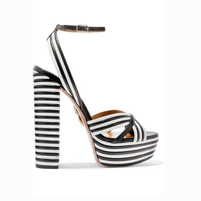 eb6e48695f7b3 Aquazzura|Sundance Striped Leather Platform Sandals #aquazzura, #style,  #fashion, #platformsandals, #snobqueens
