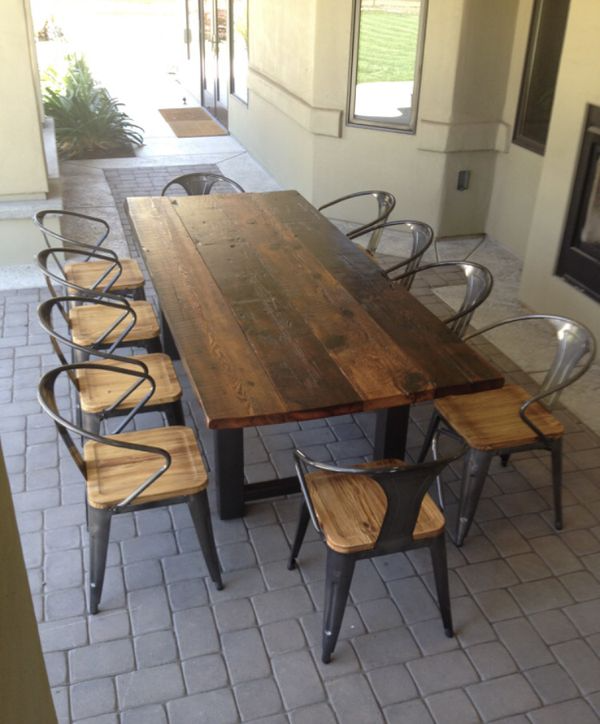 Outdoor Patio Table Farm Style Steel And Wood Dinning Dinner For Sale In Vista Ca Offerup Wood Patio Table Outdoor Dining Room Patio Dining Table Outdoor wooden table and chairs
