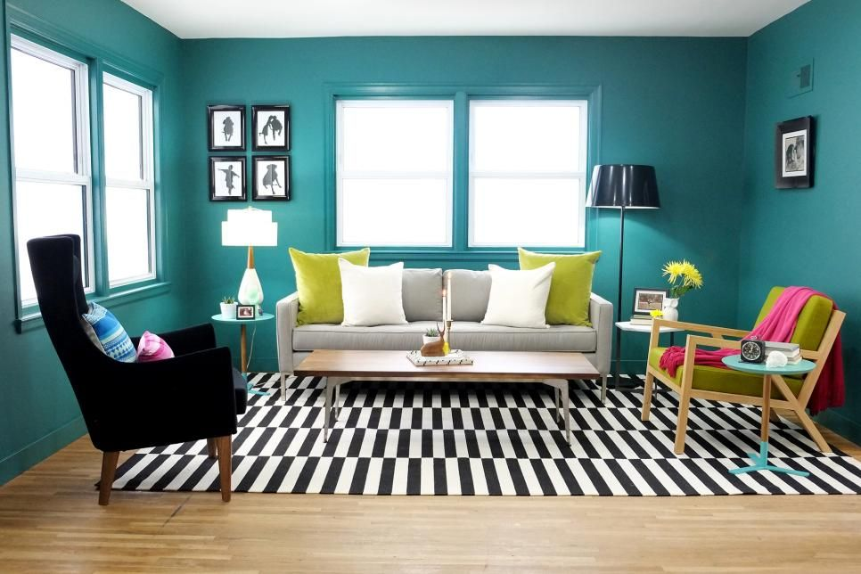 Charming HGTVu0027s Undercover Cousins Anthony Carrino And John Colaneri Updated This Living  Room With A Modern Retro Design. Bold Walls Pop Against A Black And White  ...