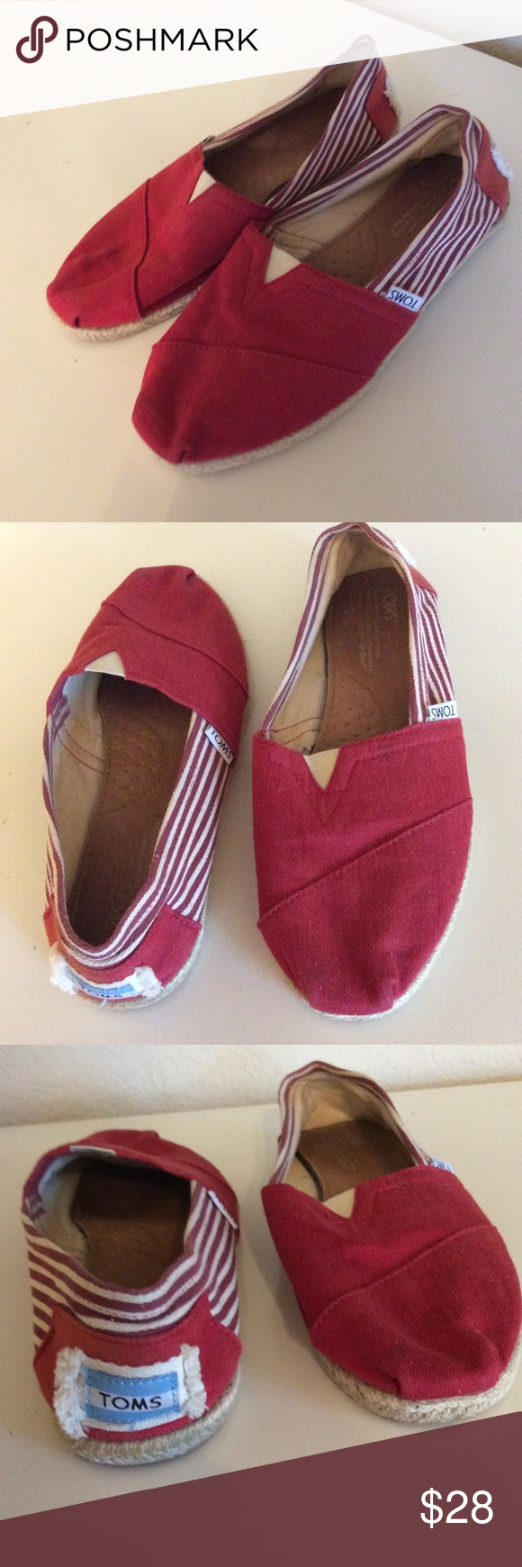 TOMS Womens Red Canvas Slip on Shoes