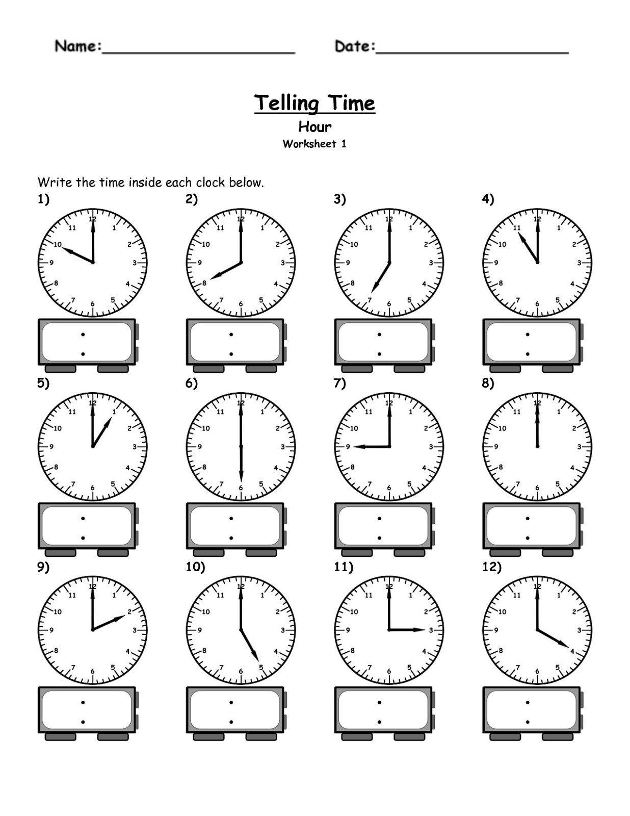 Telling Time Elapsed Worksheets