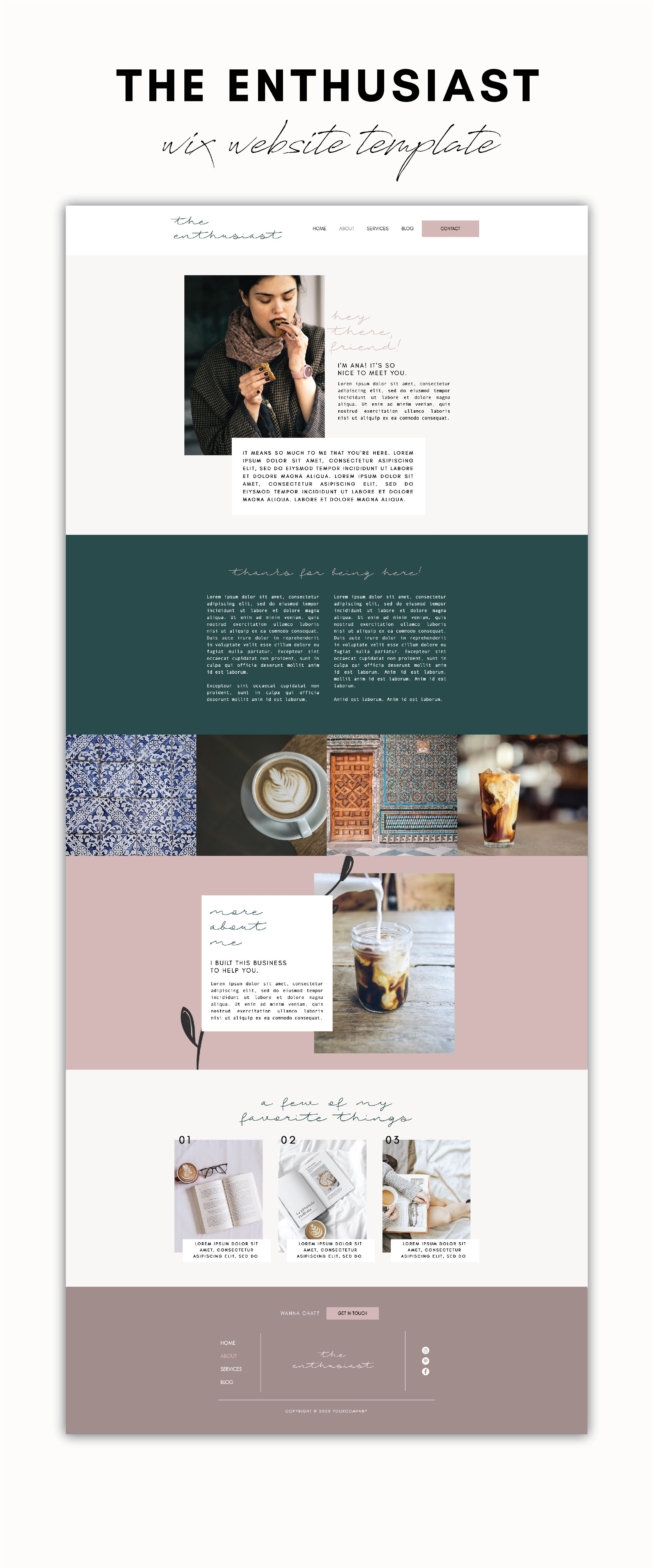 The Enthusiast Wix Website Template Tiny Pine Creative In 2020 Wix Website Templates Wix Website Design Wix Website