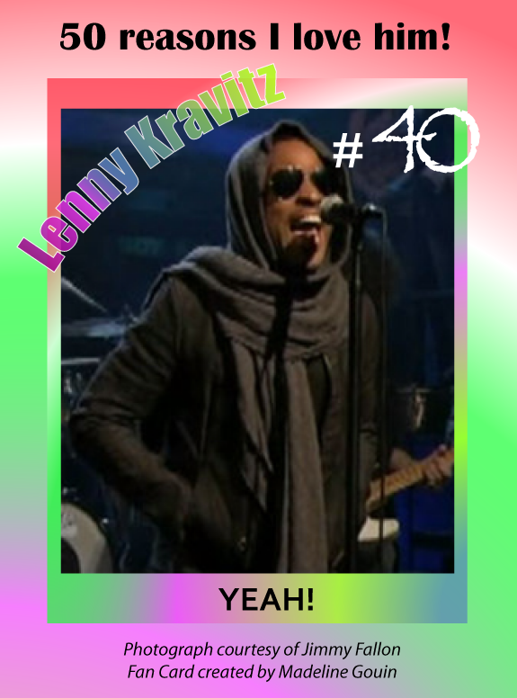 "Lenny Kravitz is iconic.  What makes him more personable and intimate is his consistent voice and signature expression ""YEAH!"" Call it a cliché if you like, that word has hailed predominantly throughout his musical career.  ""YEAH"" blends in so well with the musical instruments, you could say it has become an instrument to itself.    Mr. Kravitz, thank you for letting us know you are in the zone!  ""YEAH!"" (Copyright 2014)  http://youtu.be/l5CGwYXZg5I"