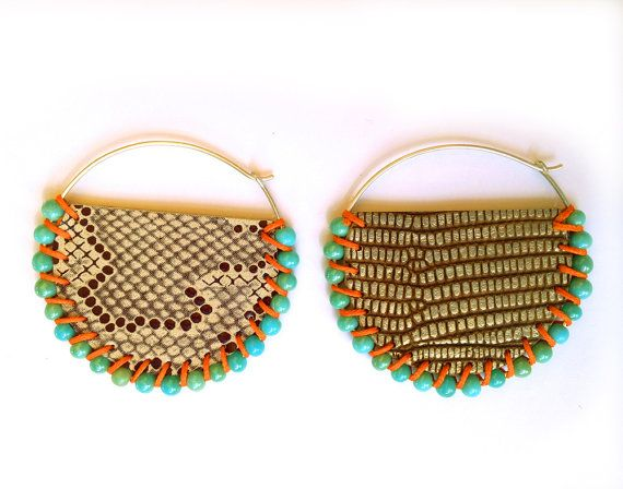 Bronze turquoise beaded hoop, two tone double faced leather with glass beads on a sterling silver hoop