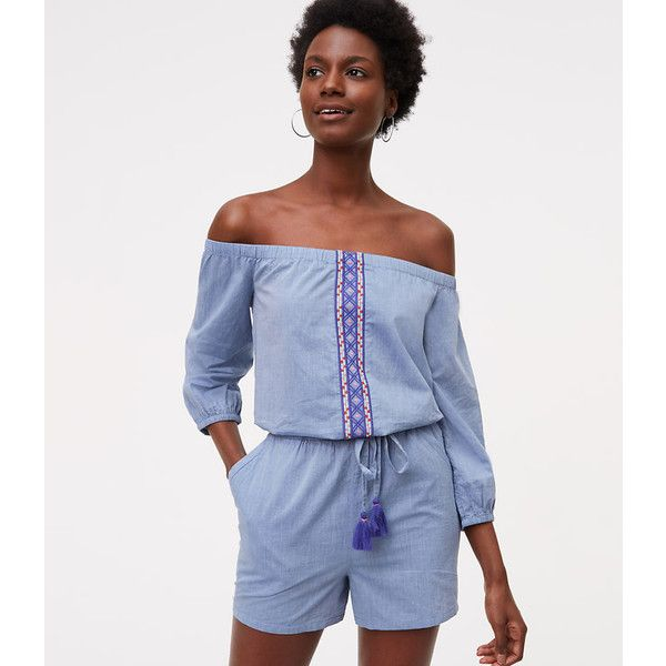 be20feecc5c LOFT Beach Chambray Embroidered Romper ( 50) ❤ liked on Polyvore featuring  jumpsuits