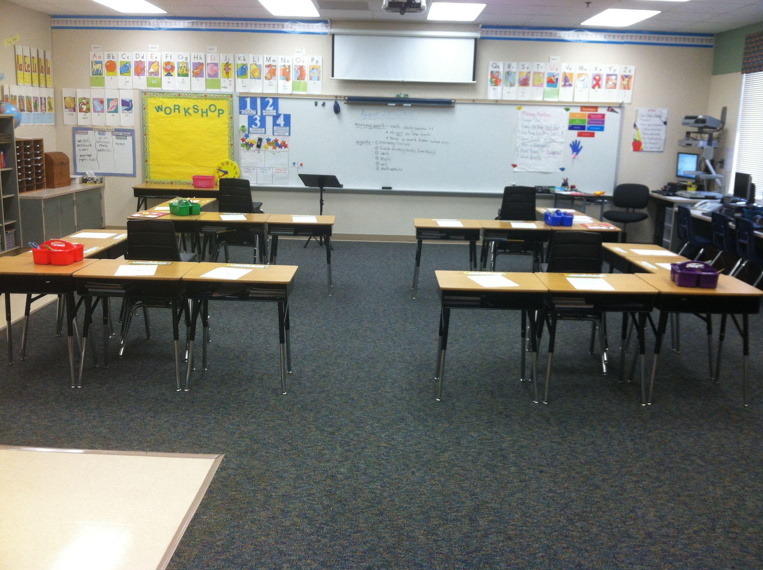 Desk arrangement classroom pinterest desks for Tables and desks in the classroom