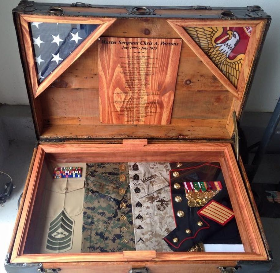 Chris 39 Antique Trunk Used As Marine Retirement Shadow Box