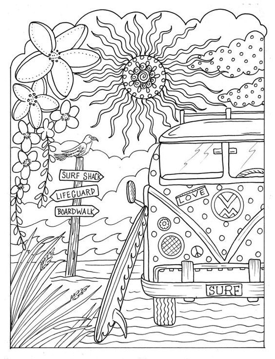 5 Pages Beachy Escape Coloring Digital Color Shells Ocean Surf Tiki Dolpjins Palm Trees Instant Downloads