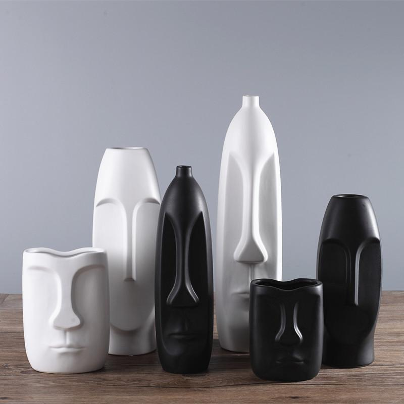 1pc Minimalism Abstract Head Shape Ceramic Vase Modern Arts Black