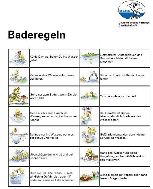 Baderegeln - DLRG DLRG Ortsgruppe Wittlich e.V. | Schule | Pinterest ...