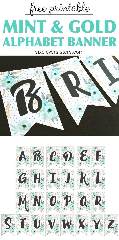 Free Printable Alphabet Banner Mint Gold    Printable