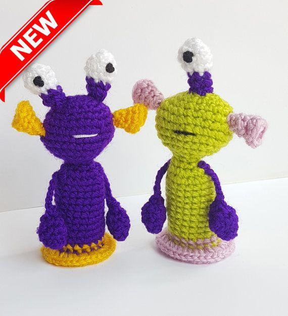 Monsters Finger Puppets crochet toys finger theater aliens Waldorf ...