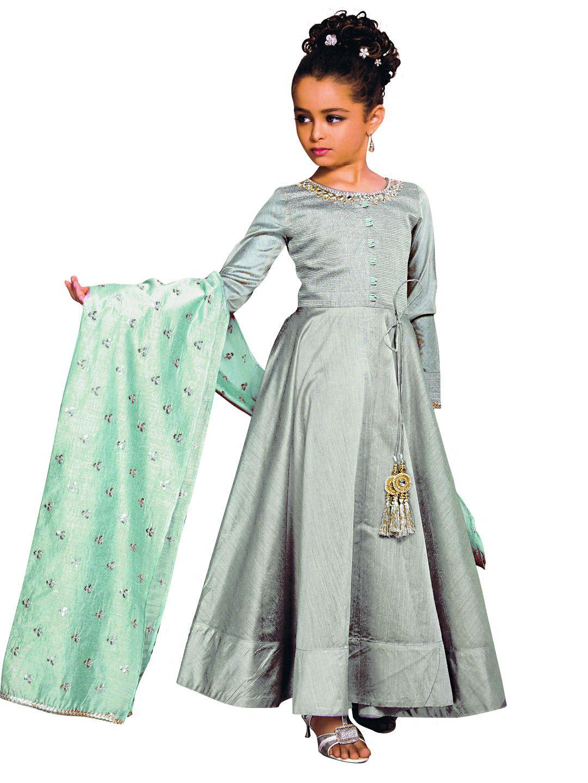 Silk wedding anarkali suit with contrast dupatta rajwadi kidswear