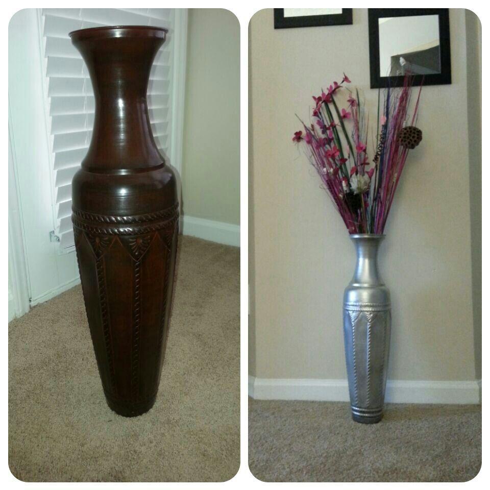 Metallic Spray Painted Floor Vase Painted Floor Floor Vase Metallic Spray Paint