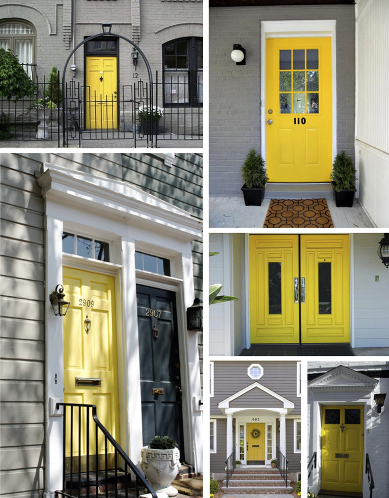 40 exemples de portes d 39 entr es color es front doors for Wood doors on gray houses