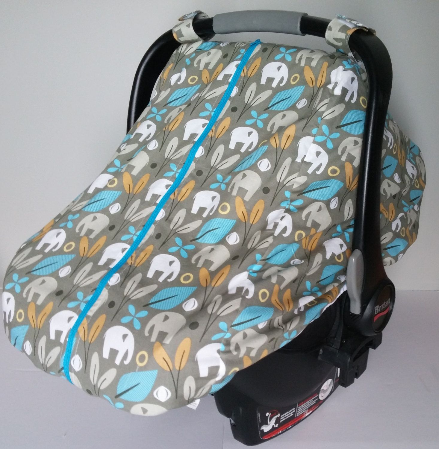Winter car seat canopy - Fitted cotton car seat cover - Gray turquoise and yellow & Winter car seat canopy - Fitted cotton car seat cover - Gray ...
