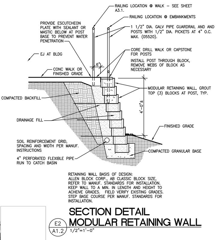 This Detail Is Suggested To Specify The Construction And Materials Required For Concrete Block Retaining Wall Retaining Wall Concrete Blocks