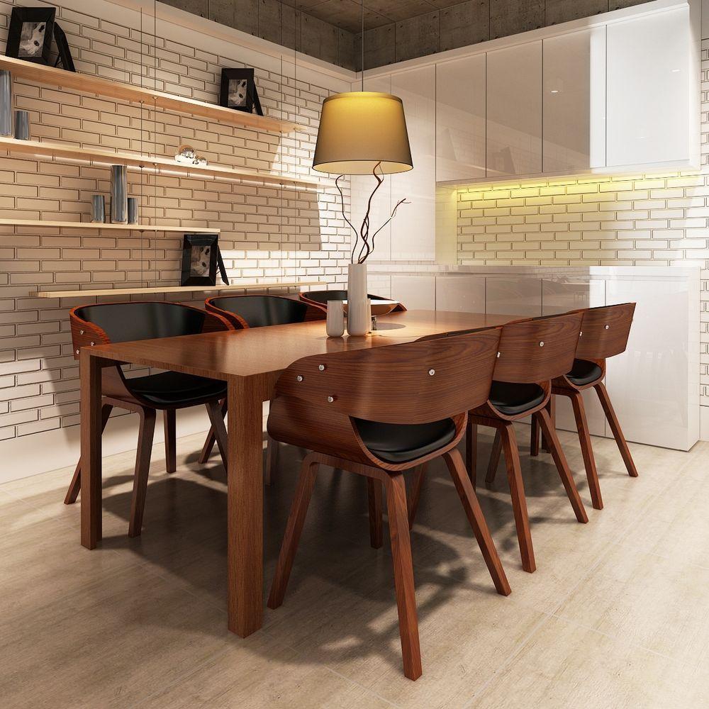 6 X Esszimmer Stuhl Stühle Sessel Esszimmerstühle Holzrahmen Braun #s