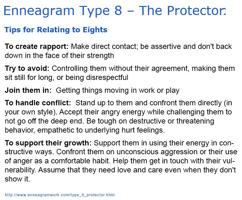Enneagram Type 8 The Protector Tips for Relating to Eights ENTJ