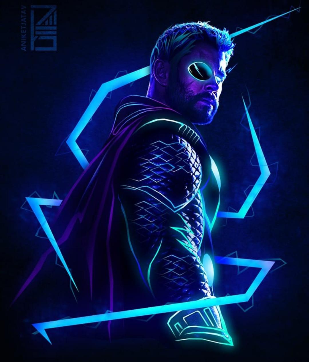 Neon Thor (By @Aniketjatav) | a | Wallpaper super herois ...