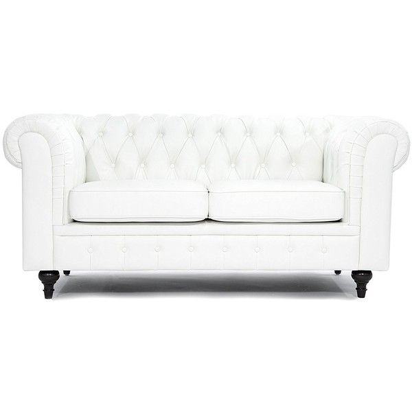 Classic Scroll Arm Tufted Bonded Leather Chesterfield 2 Seater 331 Liked On Polyvore Featuring H Leather Chesterfield Tufted Furniture Leather Loveseat