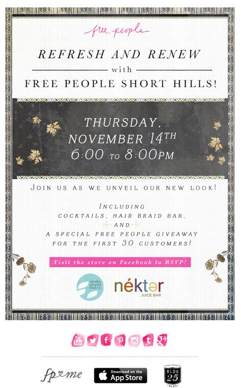 invite to a free people store party could be used for a grand