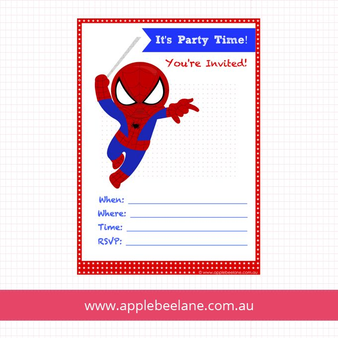 Party Invitations Spiderman Free To Download